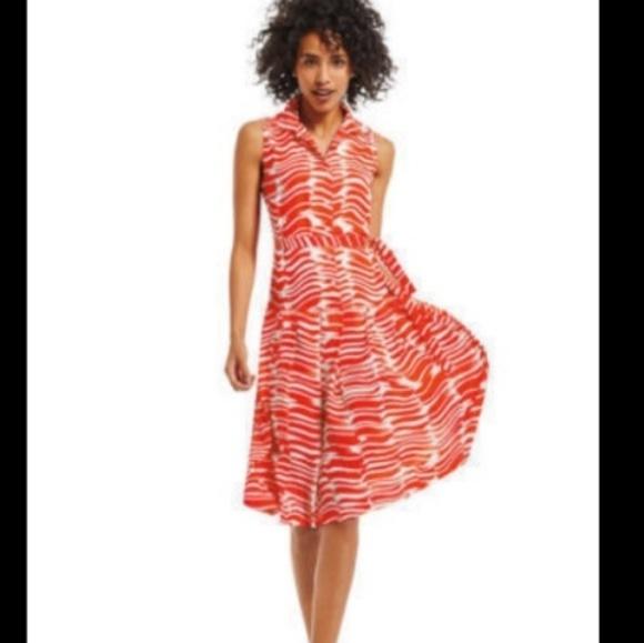 CAbi Dresses & Skirts - Cabi Brushstroke Dress Style #281 Orange/White